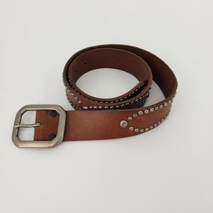 New Lucky Brand Leather Belt Silver Metal Studs